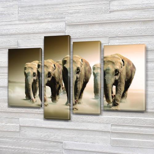Слоны, модульная картина (животные, стадо слонов), на ПВХ ткани, 65x85 см, (40x20-2/65х18/50x18)