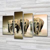 Слоны, модульная картина (животные, стадо слонов), на ПВХ ткани, 65x85 см, (40x20-2/65х18/50x18), фото 1