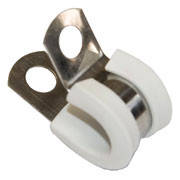 Хомут стальной для труб Tecnocooling труб 3/8'' с прокладкой (черный, белый)