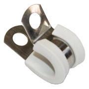 Хомут стальной для труб Tecnocooling труб 3/8'' с прокладкой (черный, белый), фото 1