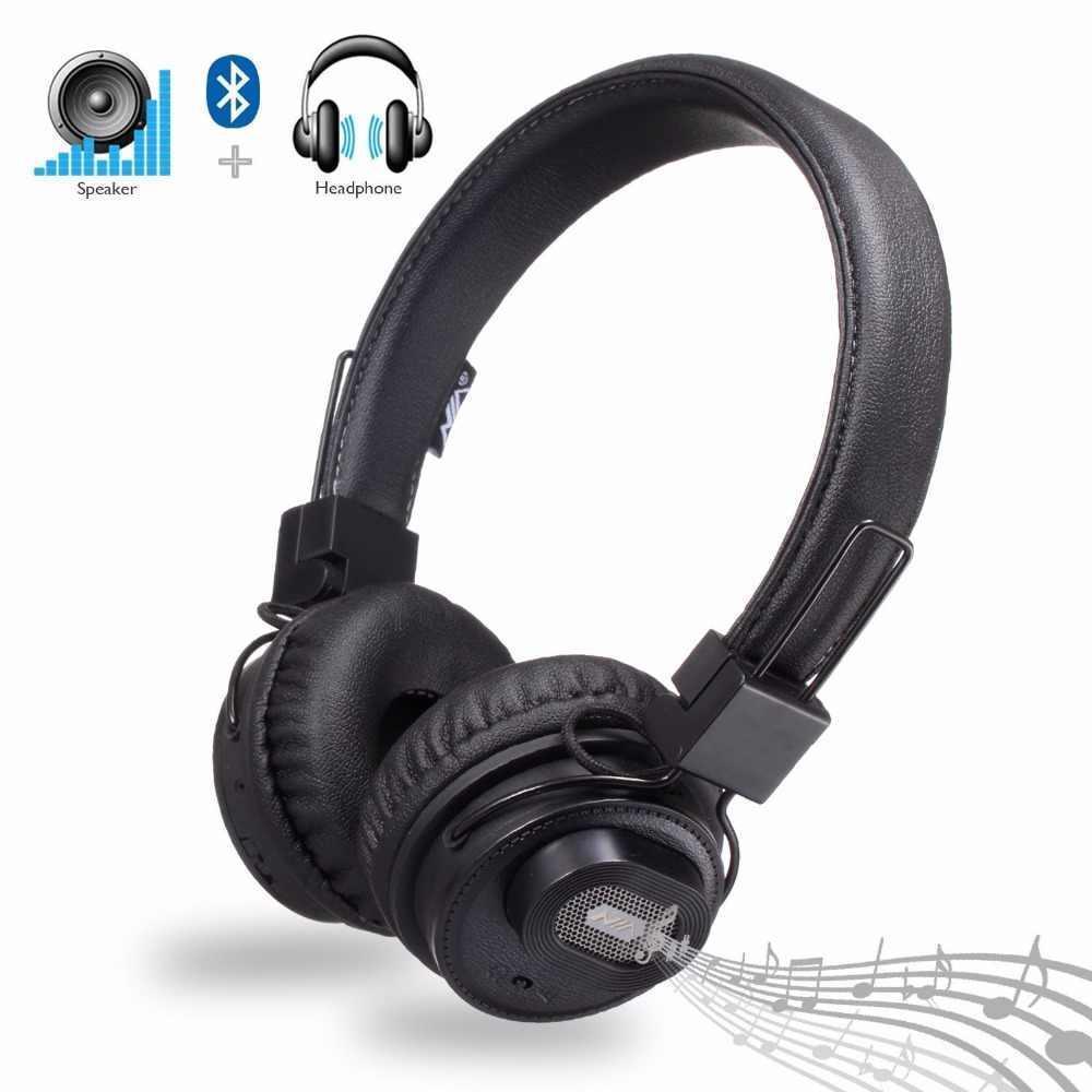 Беспроводные Bluetooth стерео наушники NIA X5SP с МР3, FM и колонкой Black
