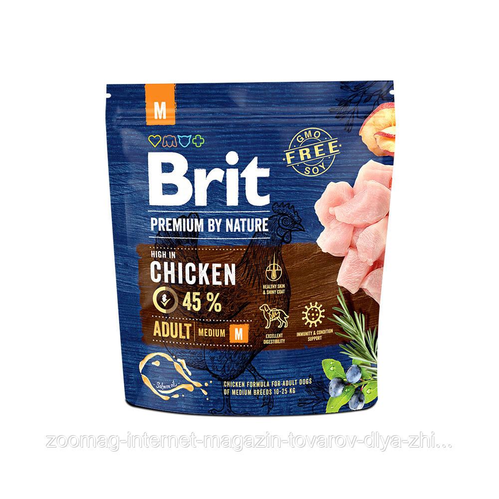 Сухой корм Brit Premium Adult М 26/15 (с курицей для взрослых собак средних пород) 1 кг