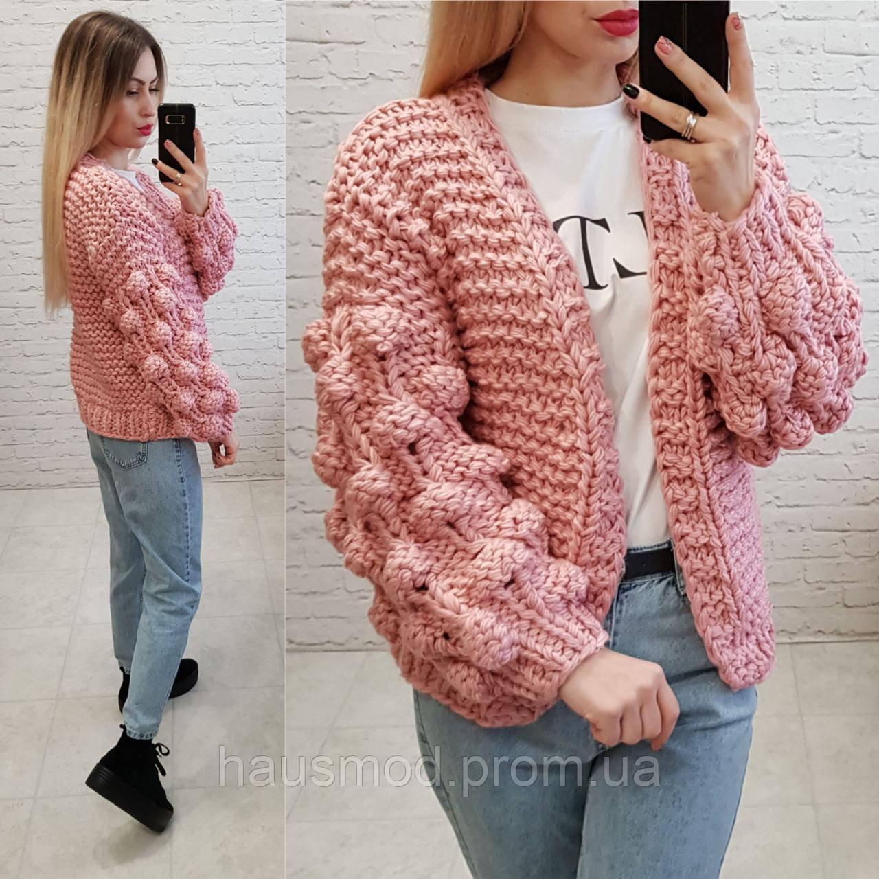 Женская кофта кардиган вязка шерсть акрил размер oversize цвет розовый