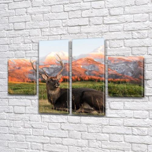 Олень в горах, модульная картина (животные, олени, горы) на Холсте син., 50x80 см, (25x18-2/50х18-2)