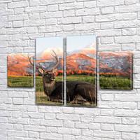 Олень в горах, модульная картина (животные, олени, горы) на Холсте син., 50x80 см, (25x18-2/50х18-2), фото 1