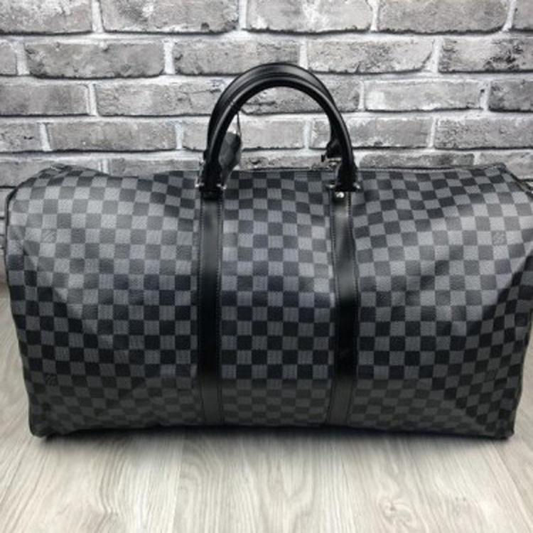 6db068f466d9d Стильная кожаная женская дорожная сумка Louis Vuitton серая черная через  плечо унисекс Луи Виттон люкс реплика