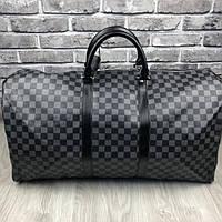 Стильная кожаная женская дорожная сумка Louis Vuitton серая черная через плечо унисекс Луи Виттон люкс реплика, фото 1