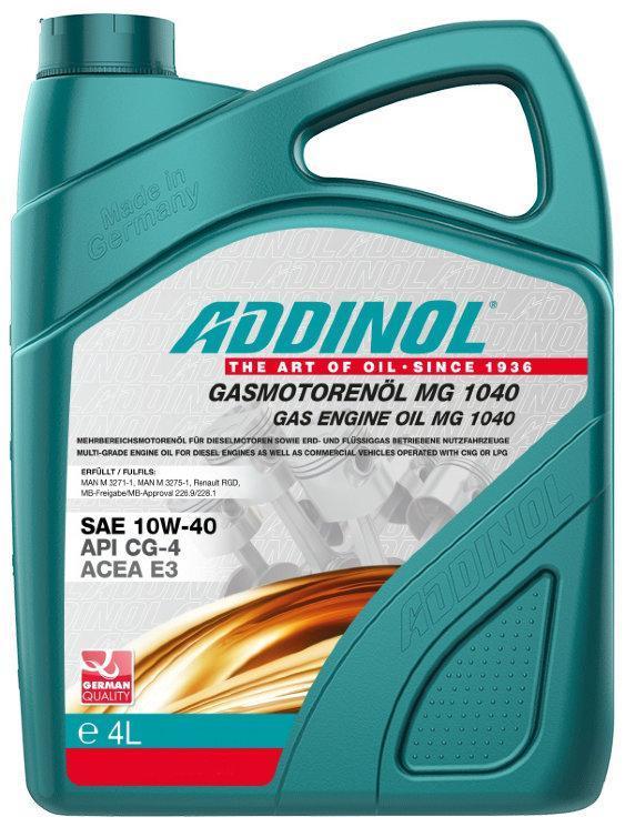 Полусинтетическое моторное масло Addinol Gasmotorenol MG 10w40 4L
