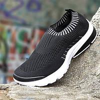 0a9e239d6 Мужские летние кроссовки носки без шнурков черные, легкая белая подошва  пенка, не парят удобные