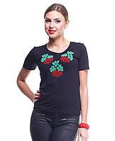Женская черная футболка-вышиванка Калина