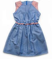 Летнее детское платье джинс с бантиком для девочки  4-7 лет