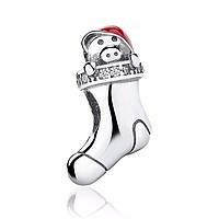 """Шарм Pandora Style (стиль Пандора) """"Рождественский сапожок с поросёнком"""""""