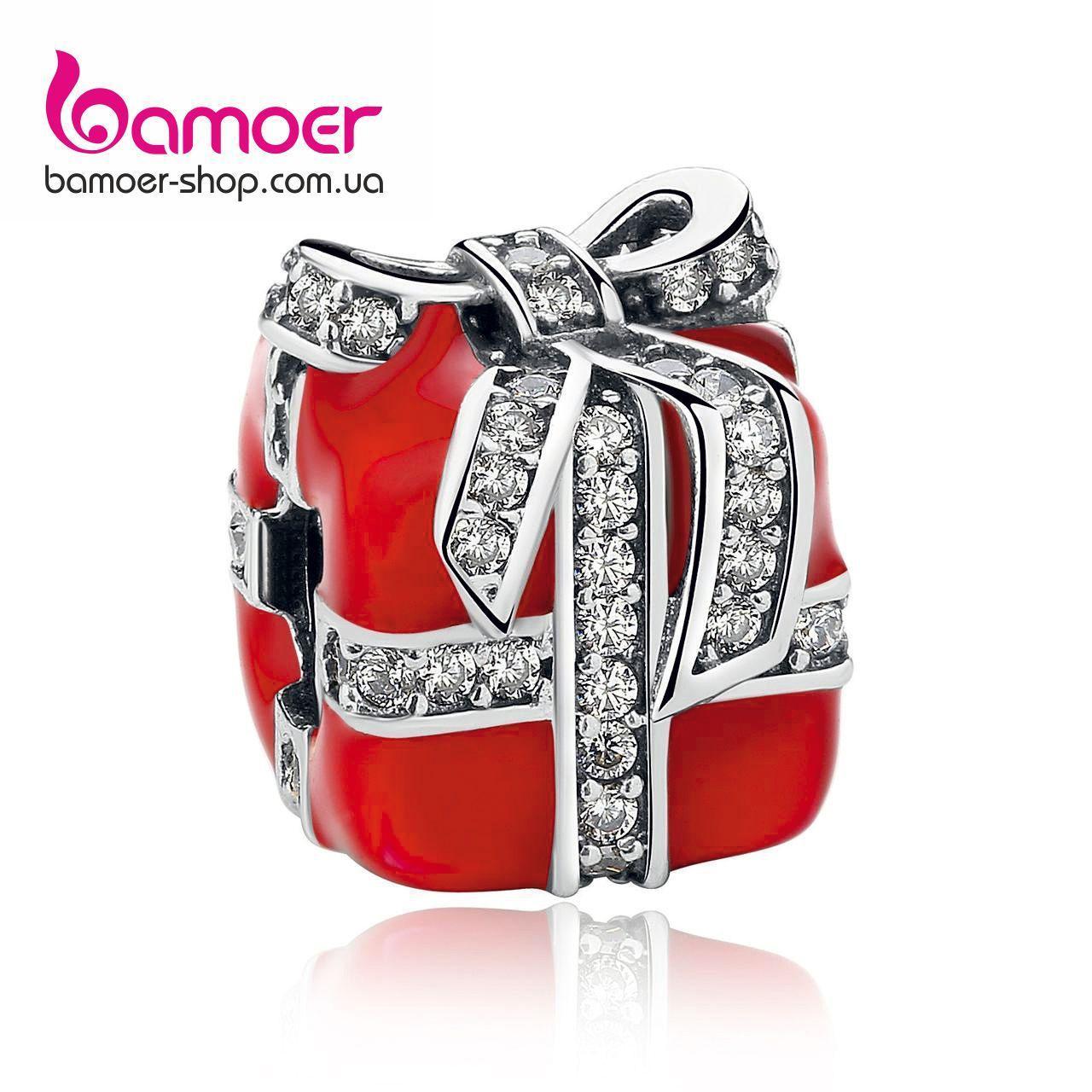 """Шарм Pandora Style (стиль Пандора) """"Красный подарок с бантиком"""""""