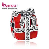 """Шарм Pandora Style (стиль Пандора) """"Красный подарок с бантиком"""", фото 1"""