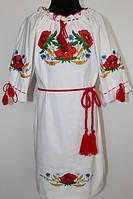 Вишите плаття для дівчинки Veronika Тома маки білий полотно