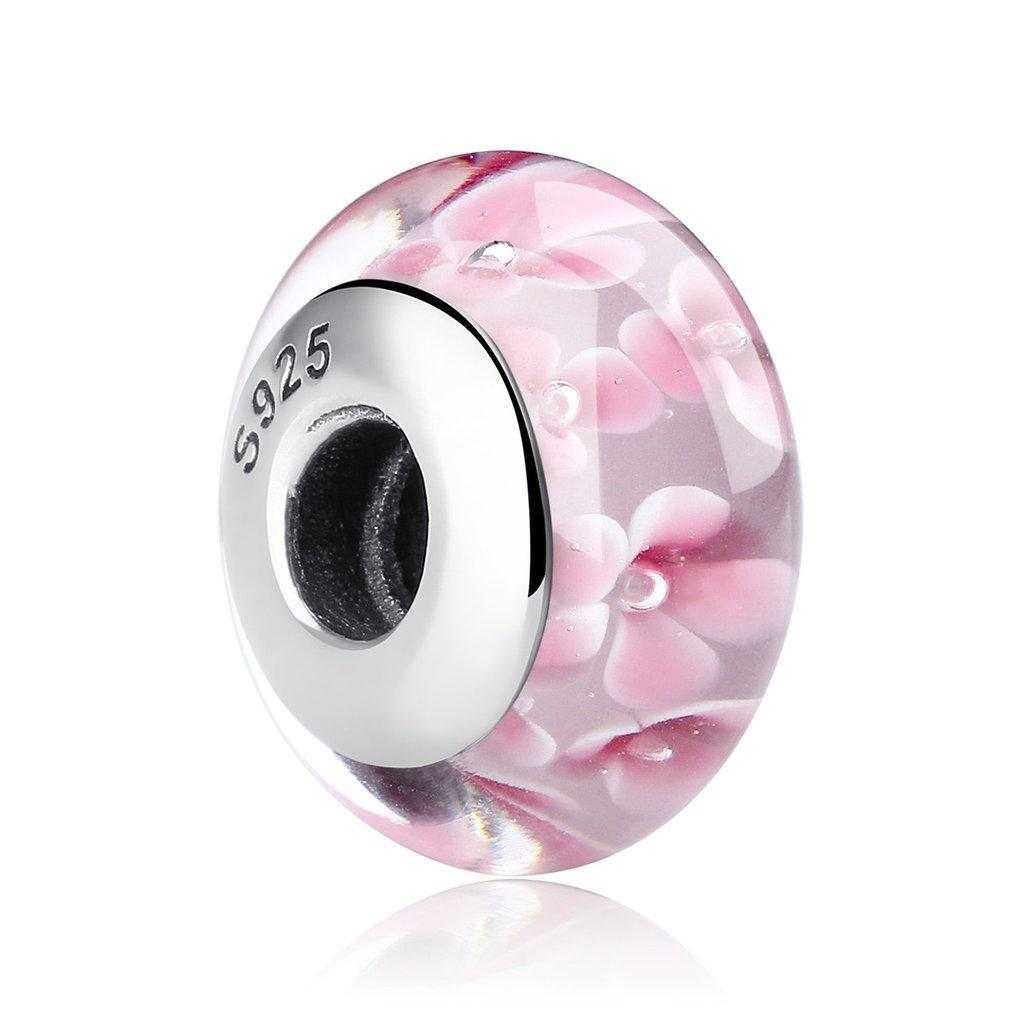 """Шарм Pandora Style (стиль Пандора) """"Мурано Розовые цветы"""""""