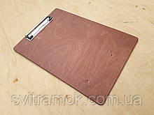 Папка-планшет з дерева з металевим затискачем