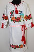 Вишите плаття для дівчинки Veronika Діна квіти білий полотно