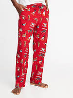 Мужские фланелевые штаны Old Navy США красные с рисунком S XL пижама домашние