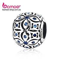 """Шарм Pandora Style (стиль Пандора) """"Орнамент со вставками из синих камней"""", фото 1"""