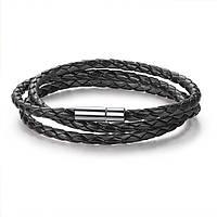 Кожаный браслет из косичек черный