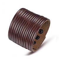 Широкий кожаный браслет коричневый, фото 1