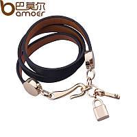 Кожаный браслет черный с подвесами Ключ и Замок, фото 1