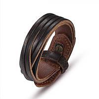 Кожаный браслет коричневый, фото 1