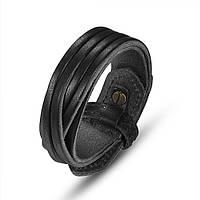 Кожаный браслет черный, фото 1