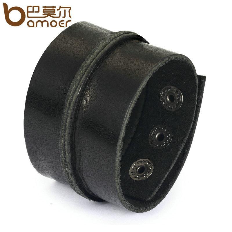 Широкий кожаный браслет черный