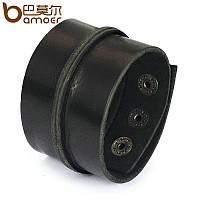 Широкий кожаный браслет черный, фото 1