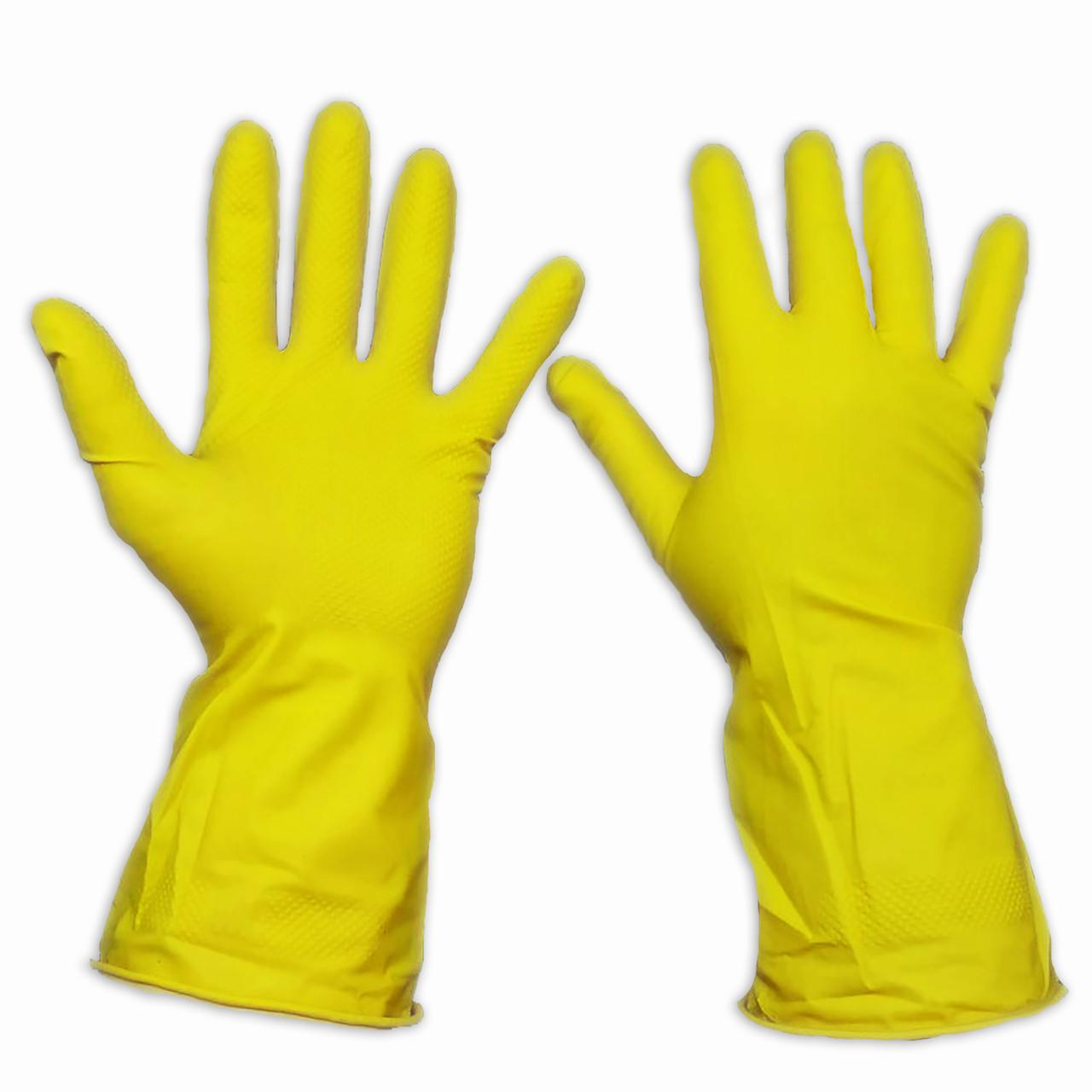Латексные перчатки, хозяйственные, прочные, Household Gloves, размер — M