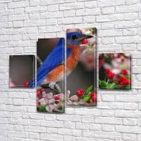 Зимородок, модульная картина (животные, птицы), на Холсте син., 65x80 см, (25x18-2/55х18-2)