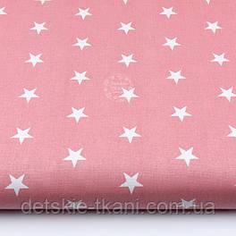 Бязь с белыми классическими звёздочками на тёмно-коралловом фоне (№2049)