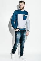 Свитшот мужской, два цвета  70P035 (Сине-серый)