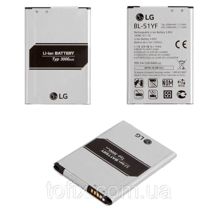 Батарея (АКБ, аккумулятор) BL-51YF для LG G4 H810, (Li-ion 3.85V 3000 мАч), оригинал