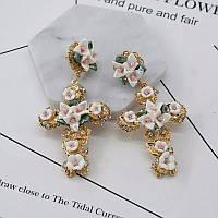 Серьги белые кресты с цветочками Дольче Габанна (Dolce&Gabanna), фото 1