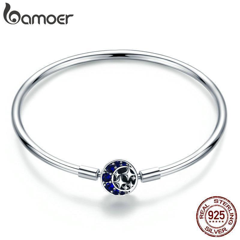 Серебряный браслет основа гладкий Pandora Style (стиль Пандора)  925 проба - 19см