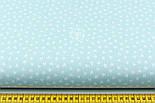 """Хлопковая ткань """"Вытянутые мини-сердечка"""" белые на мятном (№2051), фото 2"""