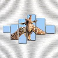 Жирафы, модульная картина (Животные, Африка) на Холсте син., 75x120 см, (18x18-2/40х18-2/65x18-2), фото 1