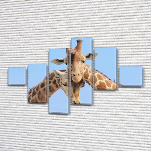 Жирафы, модульная картина (Животные, Африка) на Холсте син., 75x120 см, (18x18-2/40х18-2/65x18-2)