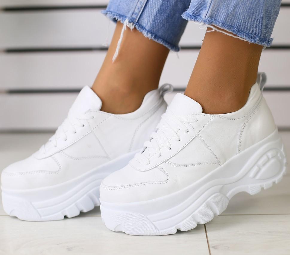 8d960db1 Модные женские кожаные кроссовки сникерсы хайтопы на высокой платформе на  танкетке белые FR68GT00H - TOP SECTOR