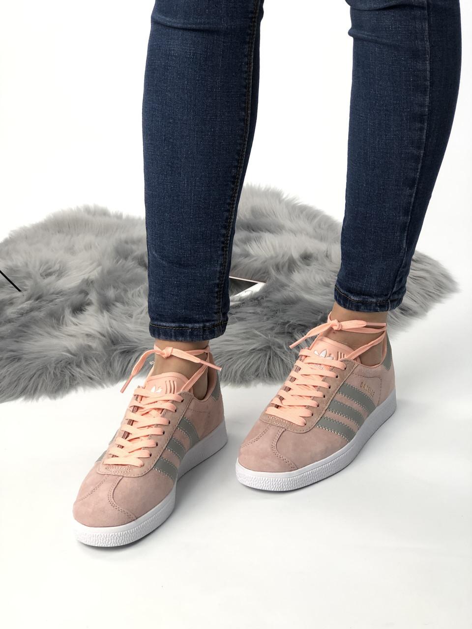 Кроссовки женские  Adidas Gazele из натуральной замши