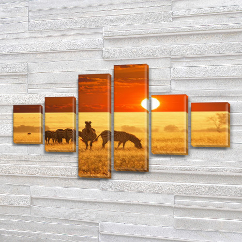 Зебры на закате, модульная картина (животные, Африка), на Холсте син., 70x120 см, (25x18-2/35х18-2/65x18-2)