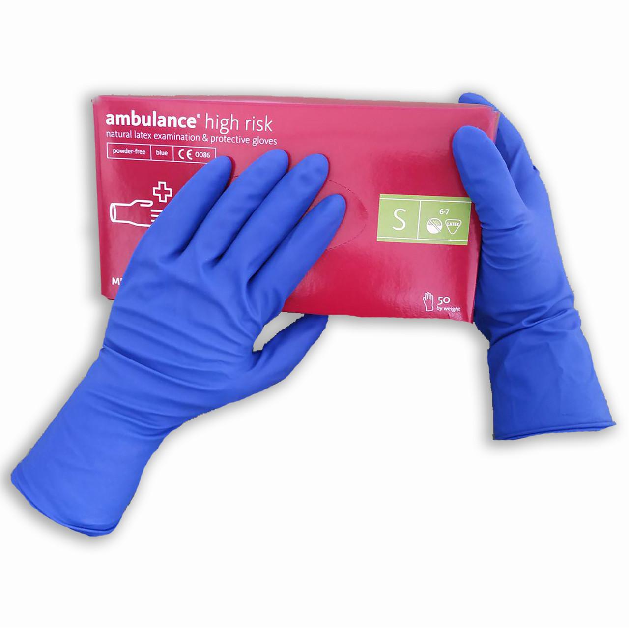 Перчатки латексные нестерильные, медицинские, неопудренные Ambulance PF, размер — S, уп. — 25 пар