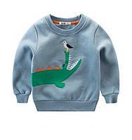 Стильная утепленная кофта с динозавром Акция! Последний размер:  130см