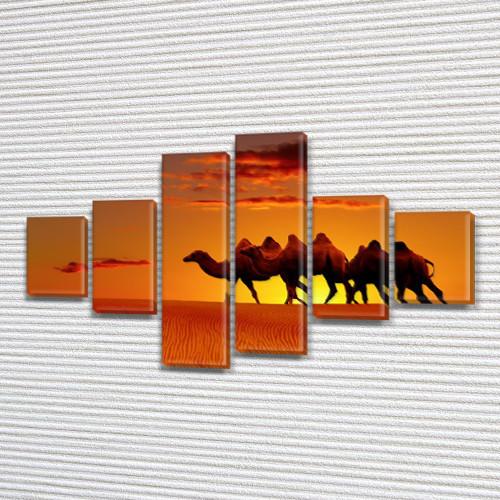 Караван верблюдов, модульная картина (животные, пустыня), на Холсте син., 70x120 см, (25x18-2/35х18-2/65x18-2)