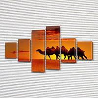 Караван верблюдов, модульная картина (животные, пустыня), на Холсте син., 70x120 см, (25x18-2/35х18-2/65x18-2), фото 1