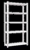 Стеллаж Элегант-1 на болтовом соединении (1840х950х340), белый, 5 полок (металл), 50 кг/полка