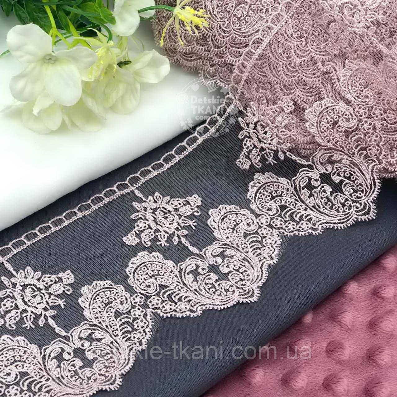 Кружево с цветочками и узорными листьями пыльно-розового цвета, вышивка шёлковой нитью, ширина 10,5 см